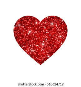 Heart from red glowing glitter