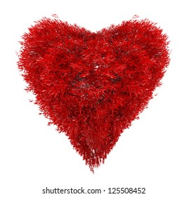 heart from red leaves isolated on white background