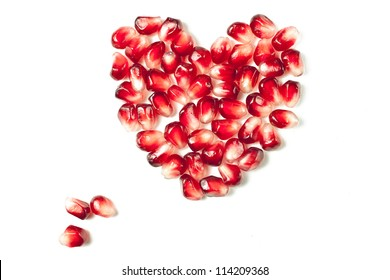the heart of the red pomegranate seeds