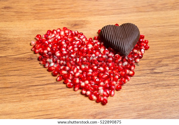 Heart Red Pomegranate Seeds Dark Chocolate Stock Photo Edit
