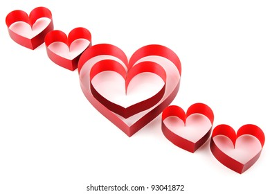 heart of red ribbon isolated on white background