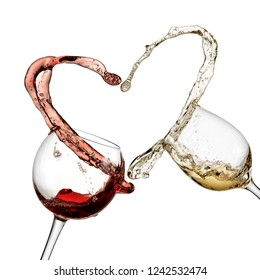 Heart from red and white wine splash, close up