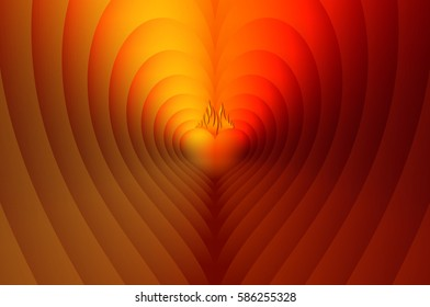 Heart reflection with flames, vibrant and colorful, to use for background, poster and love themes.