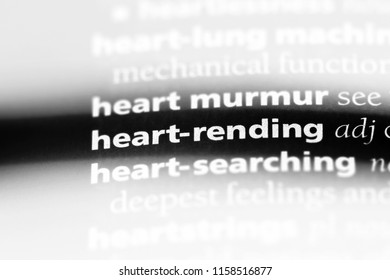 heart rending word in a dictionary. heart rending concept.