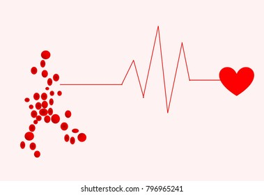 Heart rhythm line with heart shape and illustration of red blood cell. Conceptual