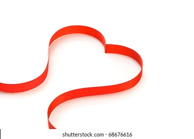 Heart from ribbon on the white
