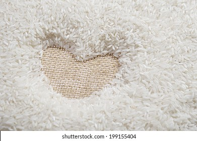 Heart Rice, uncooked raw cereals, macro closeup