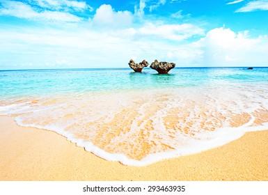 Heart of rock and beautiful beach, Okinawa, Japan