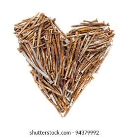Heart of rusty nails on a white background