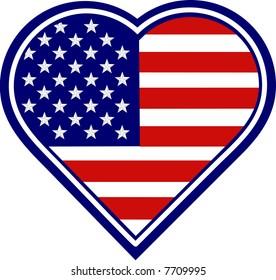 Heart Shape American Flag