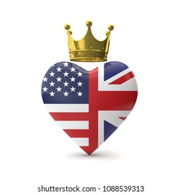 Heart shape with american and Great Britain flag with gold crown. Royal wedding concept. 3D Rendering