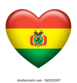Heart shape of Bolivia flag isolated on white