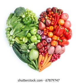 heart shape by various vegetables and fruits