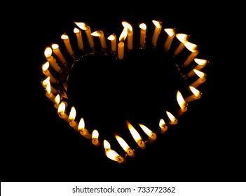 Heart shape from candle and flame. Beautiful heart , Heart candle , Love flame