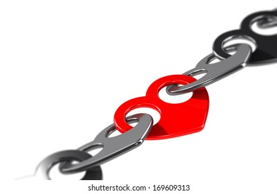heart shape chain over white background with blur effect, link and solidarity concept