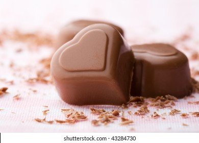 Heart shape chocolate with chocolate sprinkles for valentine's day
