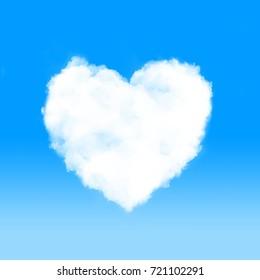 Heart shape cloud in blue sky