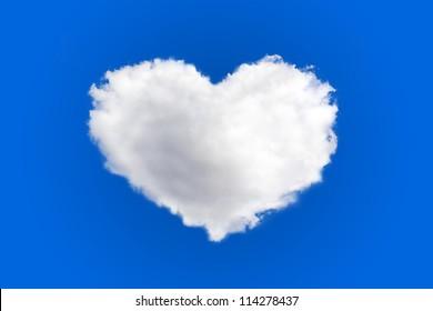 heart shape of cloud on blue sky background