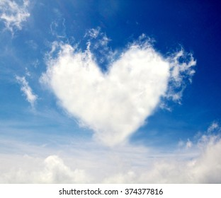 heart shape cloud over blue sky