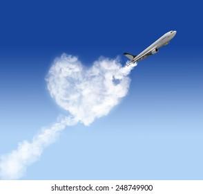 heart shape cloud and plane on blue background