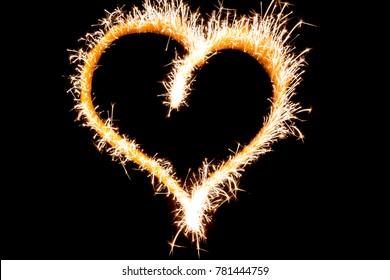 Heart shape created by sparkler