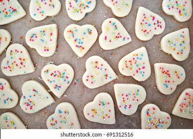 Heart shape cut out cookies dough ready for baking