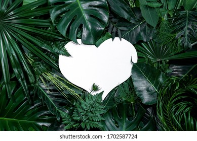 Heart shape cutout with green leaves. Love concept. Flat lay.