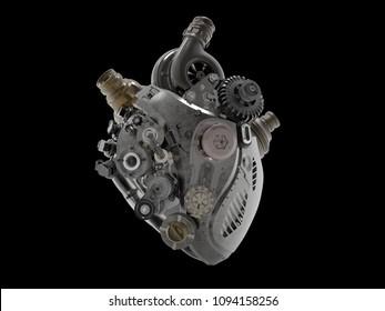 heart shape engine 3D illustration