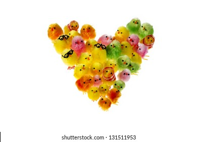 Heart shape formed by Multicolour group of Easter Chick, isolated on white