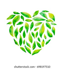 Heart Shape of Green Leaf in Hand Drawn Watercolor style isolated on white with Clipping Path for Sustainable and Saving Environmental Ecosystem Concept