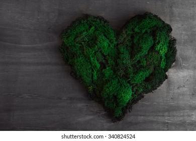 Heart shape from green moss