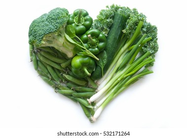 Heart shape green vegetables