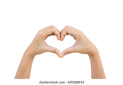 Heart shape with hand on isolate background