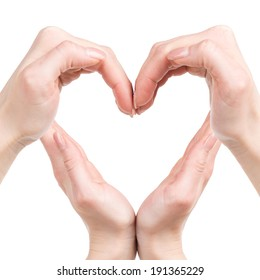 Heart shape. Human hands forming a heart shape