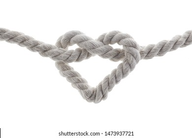heart shape knot of rope isolated on white background