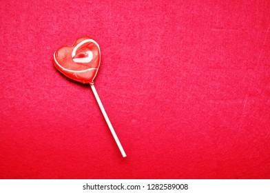 A heart shape lollipop