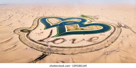 Heart shape Love lakes in the Dubai desert aerial view