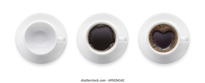 heart shape or love symbol on coffee cup, empty coffee cup, black hot coffee cup. 3 style coffee cup isolate on white background with clip path. Top view