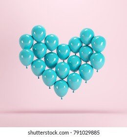 Heart shape made of blue balloon floating on pink background. Minimal idea concept.
