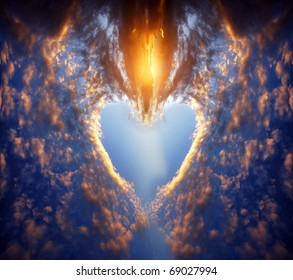 Heart shape made of clouds on a sunset sky. Love, romance, religion concepts