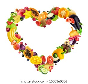 Heart shape made of different fruits, berries and vegetables isolated on white background with clipping path, healthy food concept