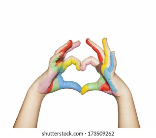Heart shape made from kids painted hands