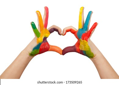Heart shape made from kids painted hands. Isolated on white