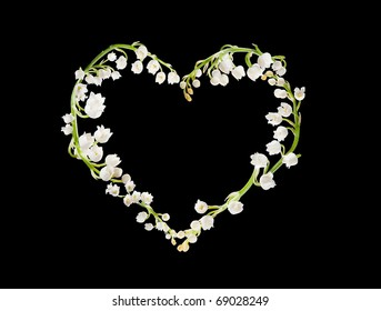 Heart shape made of lilly-of-the-valley flowers