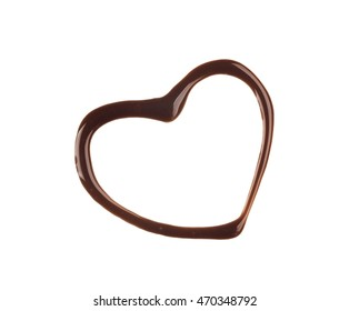 Heart shape made of liquid chocolate on white background