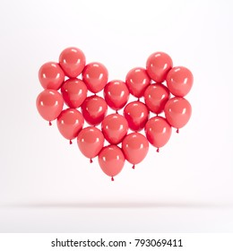 Heart shape made of red balloon floating on white background. Minimal idea concept.