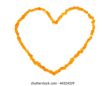 Heart shape made of red caviar