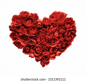 Heart shape made of red roses isolated on white background