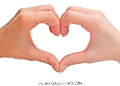 heart shape made of two woman's hands. Isolated on white