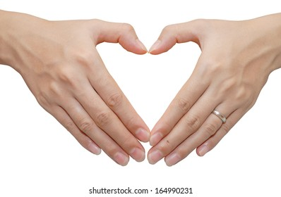 heart shape make from two hand on white background